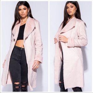 Jackets & Blazers - Blush Pink Faux Suede Fur Coat